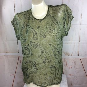Escada Sage Green Silk Blouse